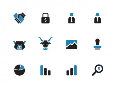 Finance duotone icons on white background.