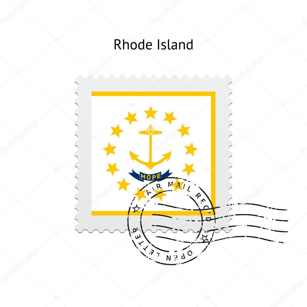 State Of Rhode Island Flag Postage Stamp Stock Vector Tkacchuk