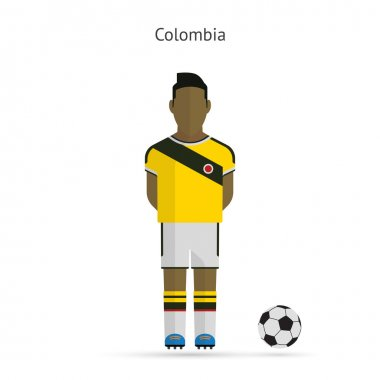 National football player. Colombia soccer team uniform.