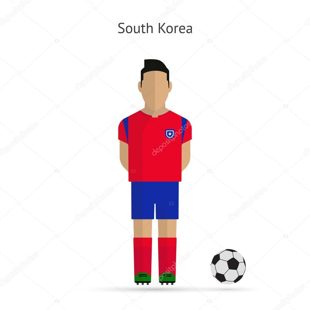 1e0aef987 National football player. South Korea soccer team uniform. — Stock Vector