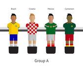 stolní fotbal, fotbalové hráče. Skupina a - Brazílie, Chorvatsko, Mexiko, Kamerun