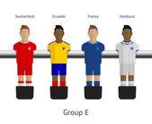Stolní fotbal, fotbalové hráče. Skupina e - Švýcarsko, Ekvádor, Francie, honduras
