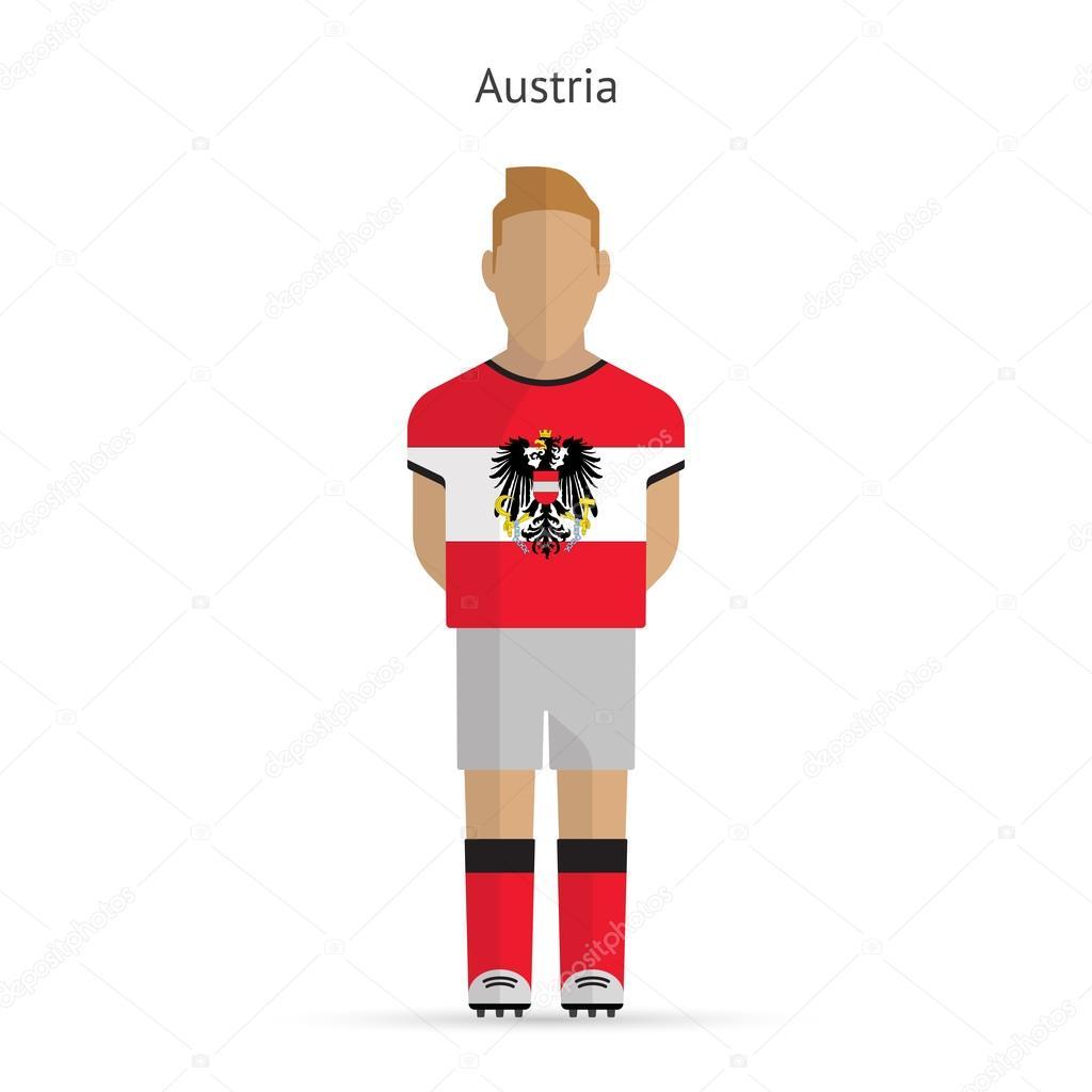d8b8165d5835d Jogador de futebol da Áustria. uniforme de futebol — Vetores de Stock
