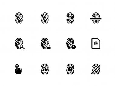 Touch id fingerprint icons on white background.