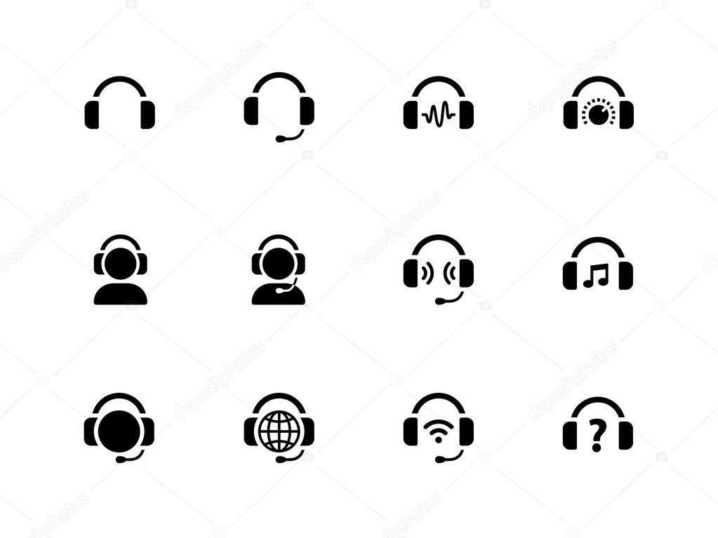 Headphones icons on white background.