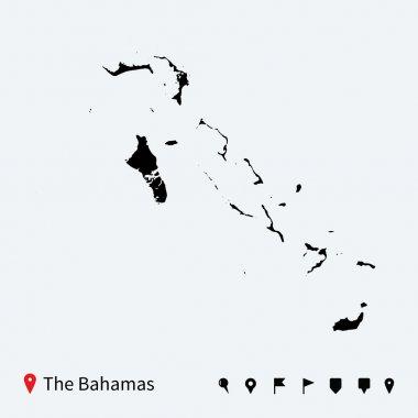 High detailed vector map of Bahamas with navigation pins.