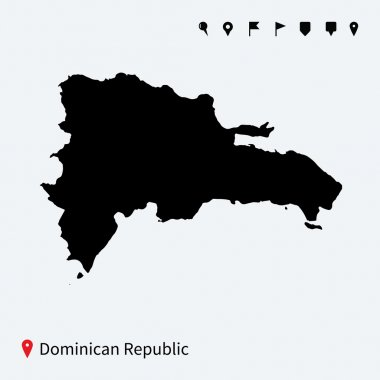 High detailed vector map of Dominican Republic with pins.