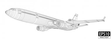 Plane Wireframe stock vector