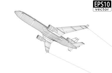 Plane Wireframe, EPS10 Vector stock vector