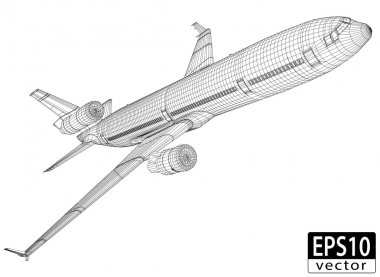 Plane Wireframe, EPS10 Vector stock vector
