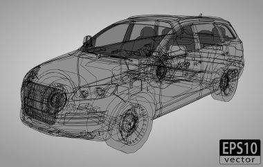 Wire-frame car