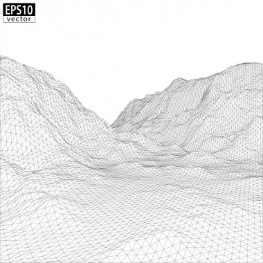 Wireframe Mountain with valley