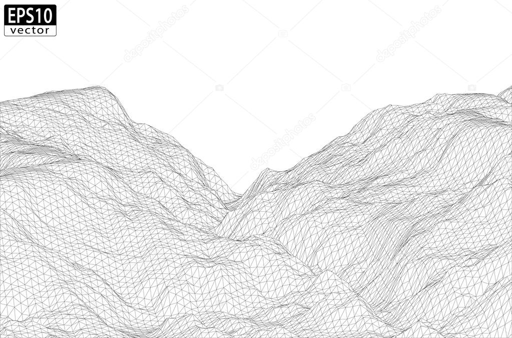 wireframe mountains wireframe mountain with valley stock vector 169 feri123 2196