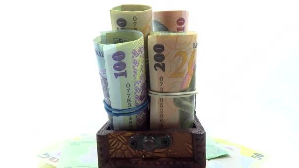 rumänischen Banknoten in alten Kofferraum
