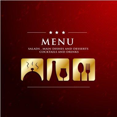 Menu restaurant with golden icon in ground background