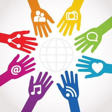 Hands connected to share clip art vector