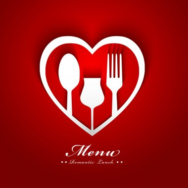 Romantic lunch menu design clip art vector