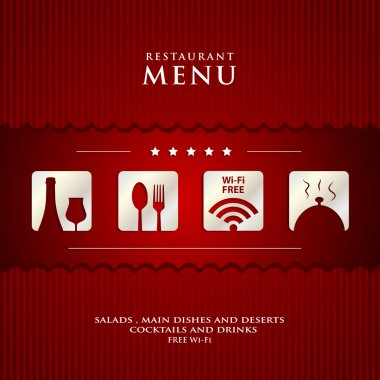 paper Restaurant Menu design on red background cover