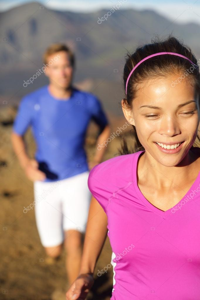 Happy Healthy Lifestyle Running People Stock Photo