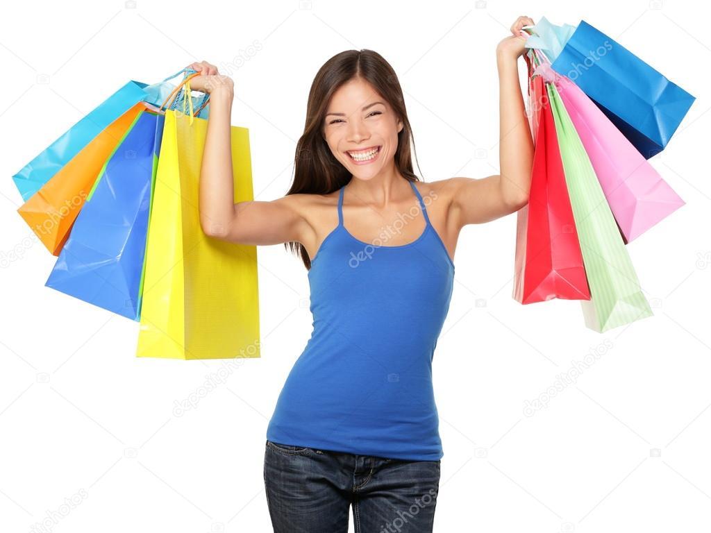 Shopping-Frau mit Einkaufstüten - Stockfotografie