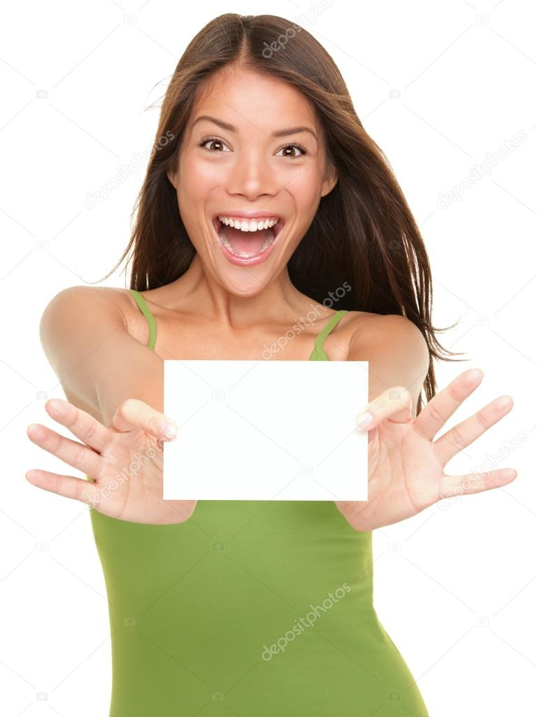 Gift card woman excited — Stock Photo © Ariwasabi #21568543
