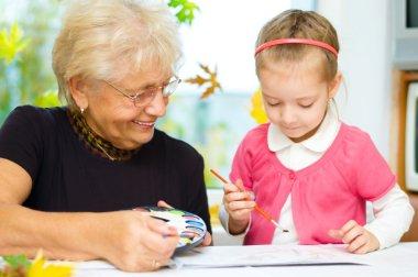grandmother with grandchildren painting