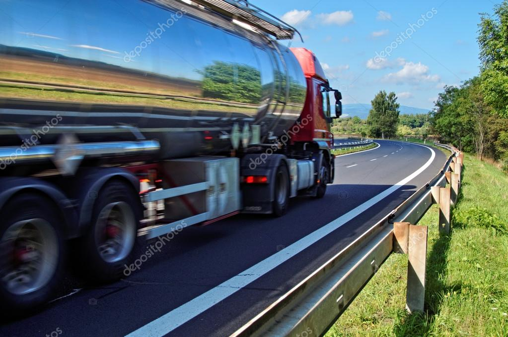Mirroring the landscape chrome tank truck