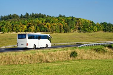 White bus on the road in the countryside