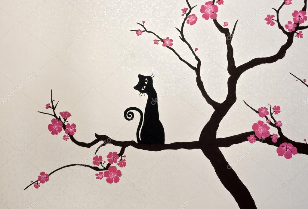 Cat Sitting On A Blooming Sakura Branch Wallpaper Painting