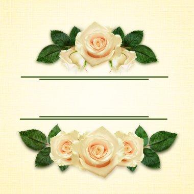 Rose flowers arrangement and frame