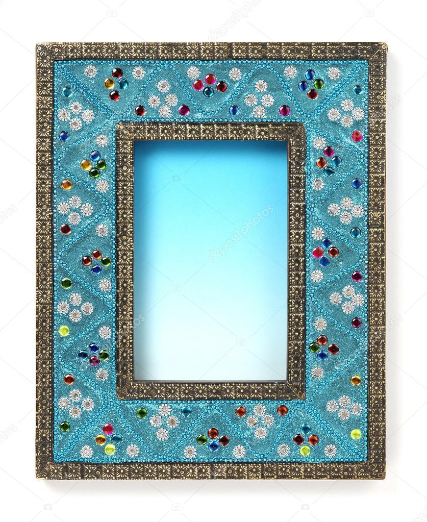Indian Style blau Rahmen — Stockfoto © estudiosaavedra #36359755