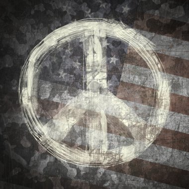 Peace sign on military background