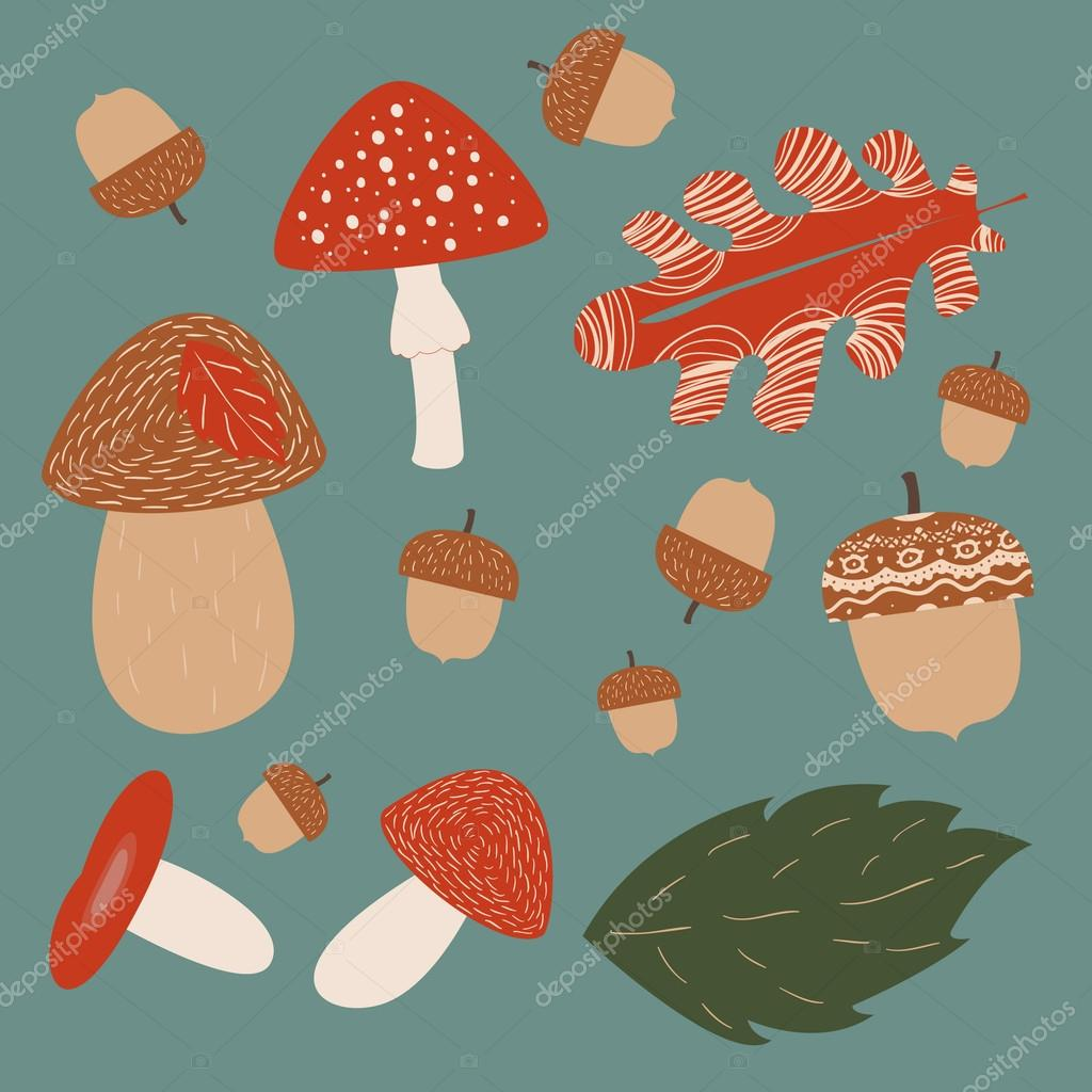 Mushroom hunting vector illustrations on turquoise background