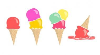 Set of four vector ice creams isolated on white