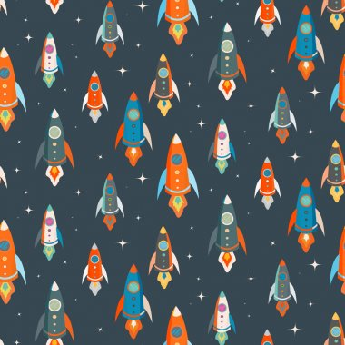 Seamless vector pattern of colorful spaceships