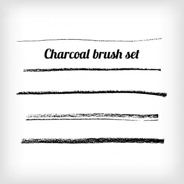 Hand drawn charcoal brush set.  Scalable  grunge vector