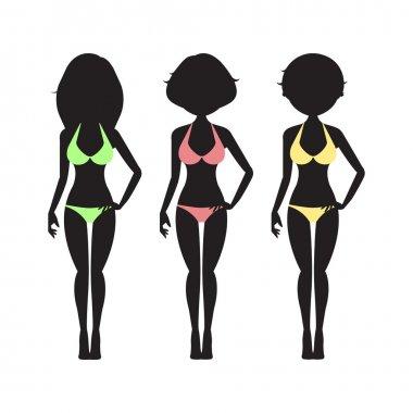 Swimsuit silhouette women in bikini