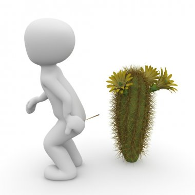 A 3D character stands out with the butt on a cactus. stock vector