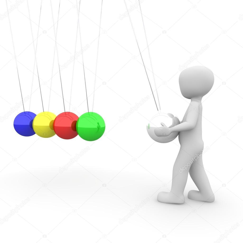 colorful newton pendulum