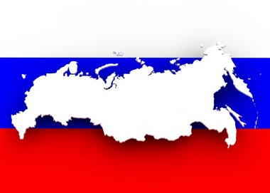 Russia map and flag
