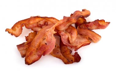 Bacon slices over white background stock vector