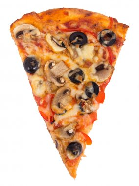 Mushroom and olive pizza slice over white background