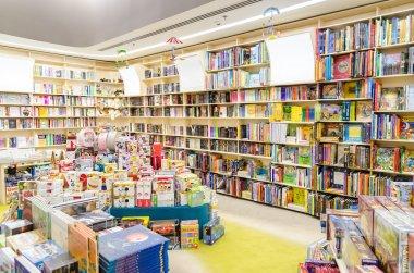 Library Bookshelves With Children Books stock vector