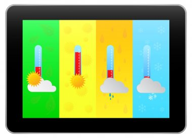 Black Business Tablet Indicate Weather Forecast With Four Seasons