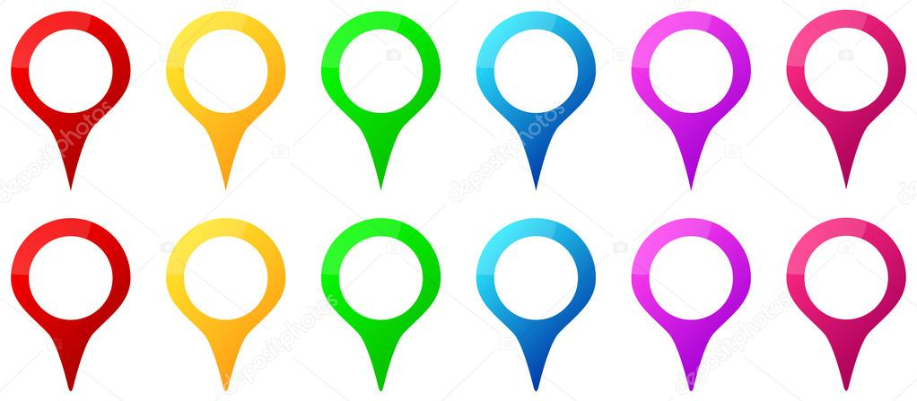 Colored Map Pins Icons For Gps Map Location