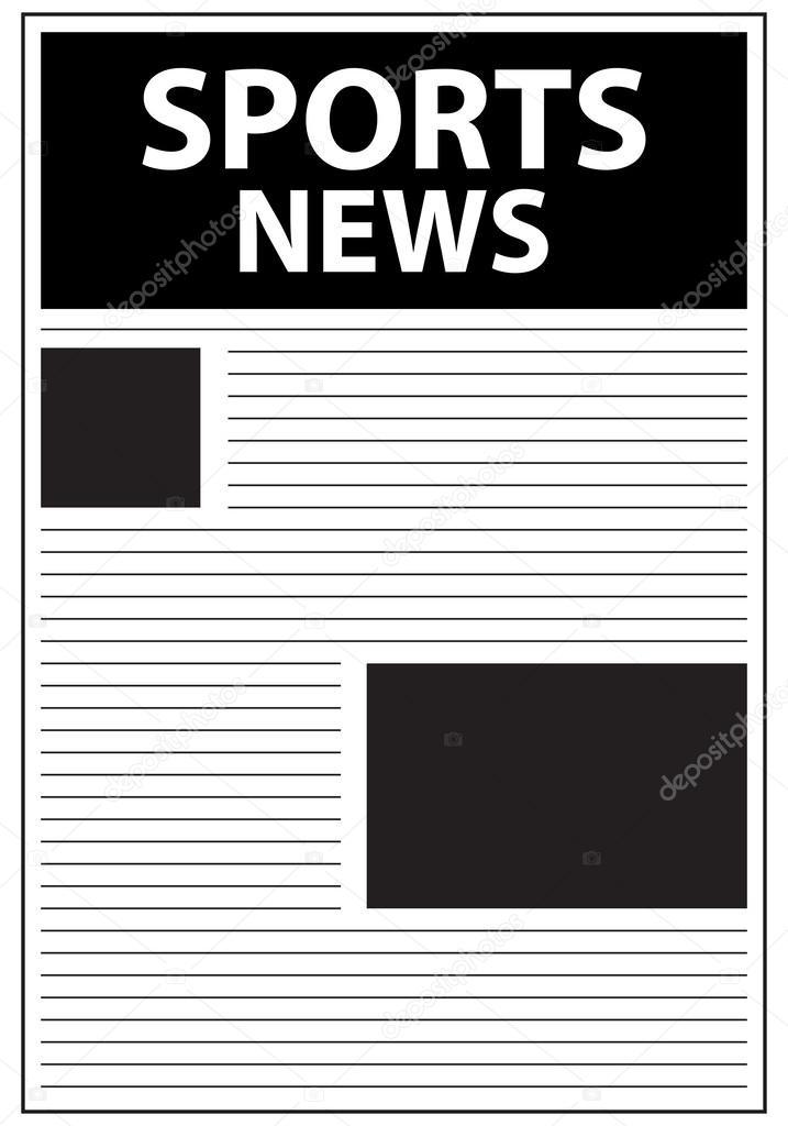 100718d6e Ilustração de vetores do primeiro modelo de página de jornal de notícias de  esportes — Vetor de ...