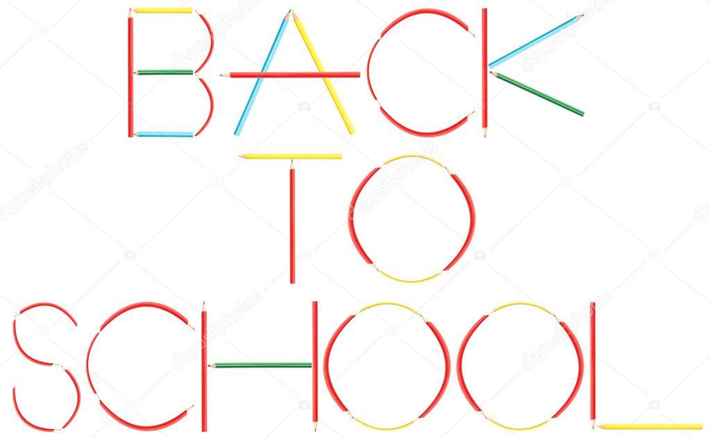 lápices de colores para colorear a palabra escuela — Fotos de Stock ...