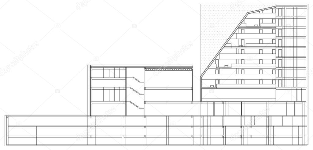 Modern Hotel Building Architectural Blueprint