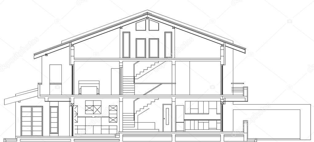 Planos arquitect nicos de casa americana moderna fachada for Fachadas de casas modernas para colorear
