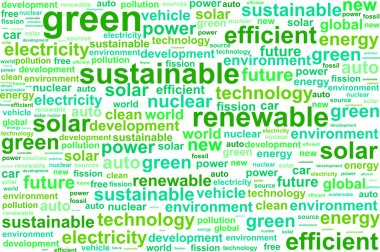 Clean Sustainable Renewable Energy Word Cloud Concept